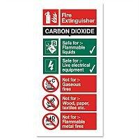 Stewart Superior Safety Sign CO2 Fire Extinguisher 280x90mm Self Adhesive Vinyl
