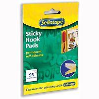 Sellotape Yellow Sticky Velcro Hook Pads 96 20 x 20mm