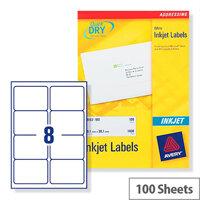 Avery Quickdry Inkjet Label 8 Per Sheet (Pack of 100)