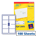 Avery J8165 Address Labels Inkjet 8 per Sheet 99.1x67.7mm White 800 Labels