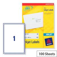 Avery Quickdry Inkjet Label 1 Per Sheet (Pack of 100)