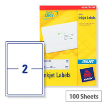 Avery Quickdry Inkjet Label 2 Per Sheet (Pack of 100)