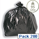Bin Bags Economy 457x737x864mm Black Pack 200 5 Star