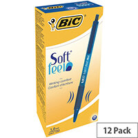 Bic SoftFeel Retractable Ballpoint Pen Blue Rubberised Barrel Pack 12