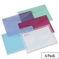 Rexel Carry Folder Polypropylene A4 Translucent Assorted 16129AS Pack 6