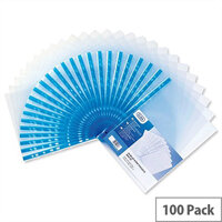 Elba Glass Clear Multipunched Pocket Blue Strip 75 Micron A4 Pk100 202308 Pack 100