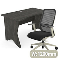 Home Office Medici Desk W1200xD700mm 25mm Desktop & Legs Carbon Walnut & NV Posture Office Chair with Contoured Mesh Back and Adjustable Lumbar Support Lime White Frame Black Seat