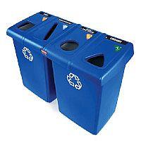Rubbermaid Slim Jim Glutton Recycling Station 4 Stream 348L Blue