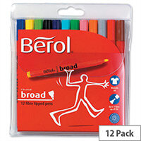 Berol Broad Colour Pen Assorted Washable Ink 1.7mm Line Wallet 12