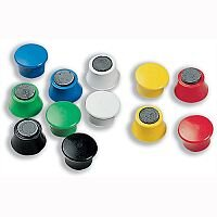Nobo Magnetic Round Plastic Markers Assorted Colours 18mm Pack 12