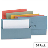 Document Wallet Half Flap Foolscap Assorted Pack 50 5 Star