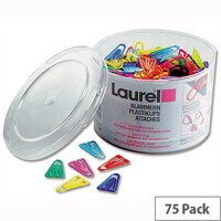 Plastic Paper Clips 60mm Assorted Colours Pack 75 Laurel