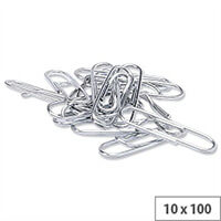 Lipped Paper Clips Large Metal 33mm Pack 10 x 100 5 Star
