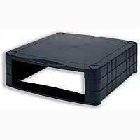 Stackable Monitor Screen Riser with Storage – Black, 20kg Max Weight, Adjustable Height 34mm To 100mm, Extra Space & Lifts CRT Or LCD Monitors (CCS25303)
