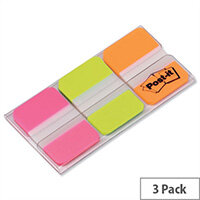 Post-it Strong Index Assorted Pink Green and Orange 25mm Pack 66