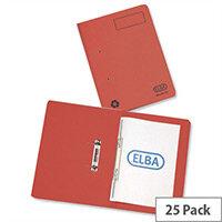 Elba Spirosort Transfer Spring File Recycled 315gsm 35mm Foolscap Red 100090288 Pack 25