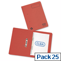 Elba Spirosort Transfer Spring File Recycled 315gsm 35mm Foolscap Red 100090288 Pack 25