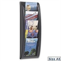Quick Fit Literature Holder Wall-mount 5 x A5 Pockets Black