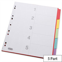 Elba Bright Card Dividers Europunched 5-Part A4 Assorted 100204879