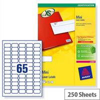 Avery L7651-250 Mini Labels Laser 65 per Sheet 38.1x21.2mm White 16250 Labels