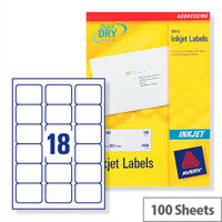 Avery Quickdry Inkjet Label 18 Per Sheet (Pack of 100)