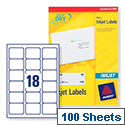 Avery QuickDRY Inkjet Address Labels 18 per Sheet 63.5 x 46.6mm White J8161-100 [1800 Labels]