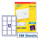 Avery J8164-100 Addressing Labels Inkjet 12 per Sheet 63.5 x 72mm White 1200 Labels