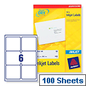 Avery QuickDRY Inkjet Address Clear Labels 99.1x93.1mm 6 per Sheet Pack of 100 White J8166-100 [600 Labels ]