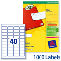 Avery L7654-25 Mini Laser Labels 40 per Sheet 45.7x25.4mm White 1000 Labels