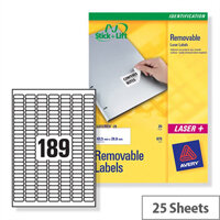 Avery L4731REV-25 Mini Laser Labels Removable 189 per Sheet 25.4x10mm White 4725 Labels