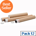 Postal Tube Cardboard Pack 12 with Plastic End Caps A2 L450xDia.76mm PT076150450