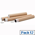 Postal Tube Cardboard with Plastic End Caps A0 L940xDia.76mm PT076150940 Pack 12