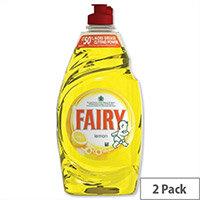 Fairy Washing Up Liquid Lemon 433ml Pack 2