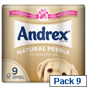 Andrex Natural Pebble Toilet Rolls Pack 9 Toilet Paper Rolls