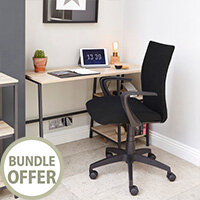 Home Office Bundle - Industrial Style Home Office Bench Desk in Charter Oak With Matching Bookcase & Black Work Fabric Modern Design High Back Office Chair