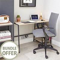 Home Office Bundle - Industrial Style Home Office Bench Desk in Charter Oak With Matching Bookcase & Grey Work Fabric Modern Design High Back Office Chair