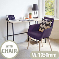 Home Office Bundle -Industrial Style Home Office Bench Desk in Charter Oak & Modern Designed 4 Legged Plum Chair