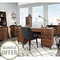 Clifton Place Home Office Furniture Set Grand Walnut including Executive Desk, Lateral Filer, Storage Sideboard and Hutch