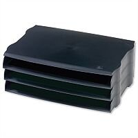 Avery DTR Eco Wide Entry Letter Tray Black Stackable Pack 3