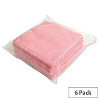5 Star Red Microfibre Heavy Duty Cleaning Cloths Pack 6