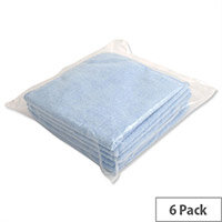 5 Star Blue Microfibre Heavy Duty Cleaning Cloths Pack 6