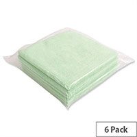 5 Star Green Microfibre Heavy Duty Cleaning Cloths Pack 6