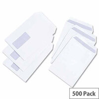 White Box C5 Window Envelopes Pocket Self Seal 100gsm White Pack 500