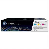 HP 126A 3-Pack Cyan Magenta Yellow Laser Toner Cartridge CF341A