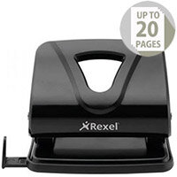 Rexel Ecodesk Punch 2-Hole Metal Long-handled Capacity 20x 80gsm Black Ref 2102616