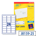 Avery Quick DRY Inkjet Address Labels 24 per Sheet 63.5x33.9mm White Ref J8159-25 [600 Labels]