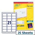 Avery J8160-25 Address Labels Inkjet 21 per Sheet 63.5 x 38.1mm White