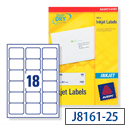 Avery QuickDRY Inkjet Address Labels 18 per Sheet 63.5x46.6mm White Ref J8161-25 [450 Labels]