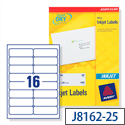Avery J8162-25 Address Labels Inkjet White 16 per Sheet 99.1 x 33.9mm