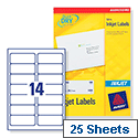 Avery QuickDRY Inkjet Address Labels 14 per Sheet 99.1 x 38.1mm White J8163-25 [Pack of 350]